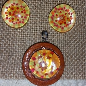 Hand painted glass ear clip and pendant